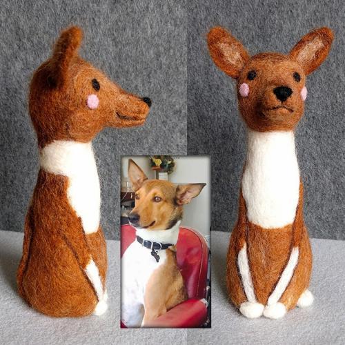 Needle Felt Marcus the Basenji/Sheltie Mix figure