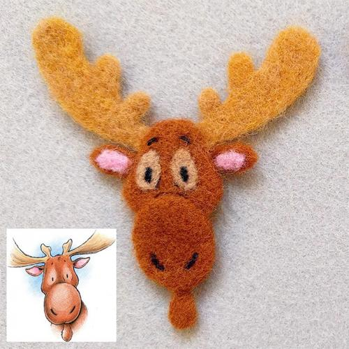 Needle Felt Moose's Roof pin