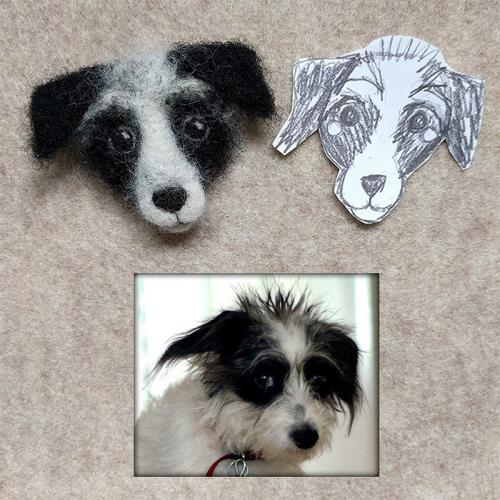 Needle Felt Morty the Jack Russel pin