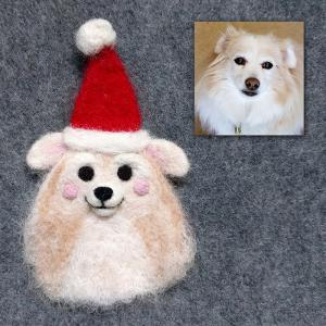 Peaches the Pommie Mix Santa pin