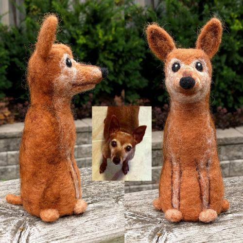 Pepper the Mini Pin dog figure