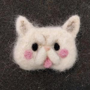 Needle Felt White Persian Cat pin