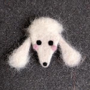 Needle felt Poodle pin