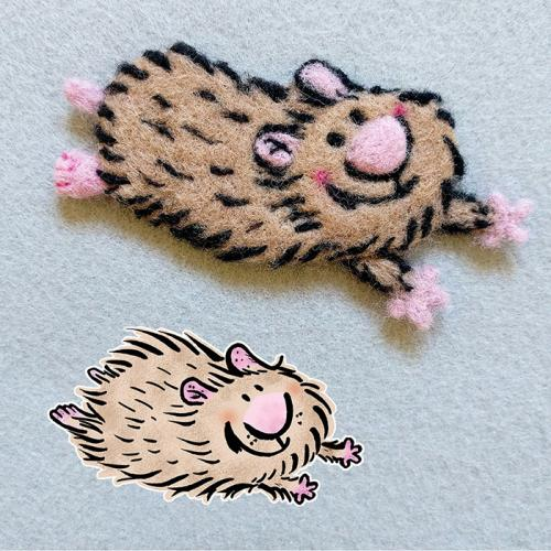 Needle felt Slammy the Hamster pin